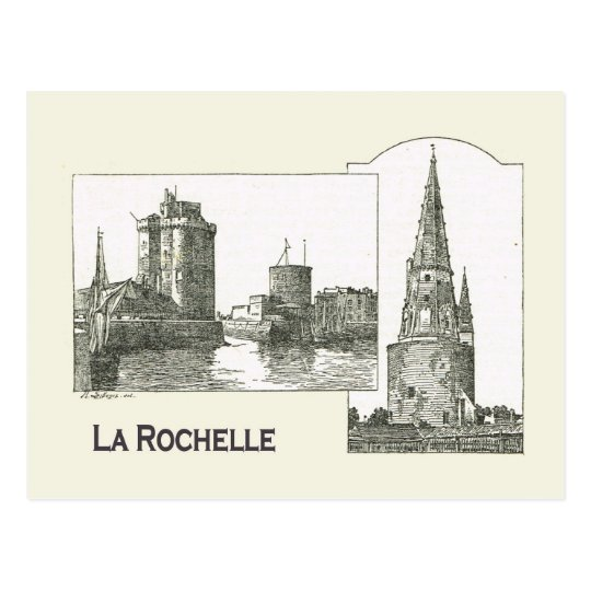 Archtecture, La Rochelle, harbour entrance, church Postcard