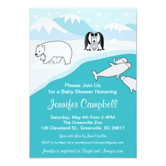 Arctic Animals Baby Shower Invitation
