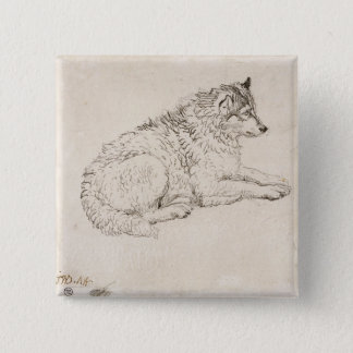 Arctic Dog, Facing Right (pencil on paper) 15 Cm Square Badge