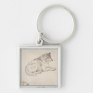 Arctic Dog, Facing Right (pencil on paper) Silver-Colored Square Key Ring