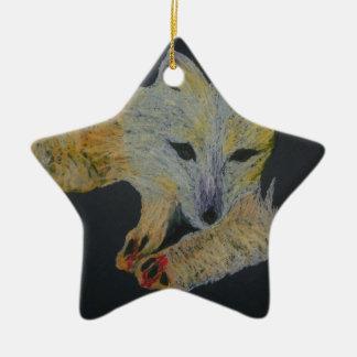 arctic fox ceramic star decoration