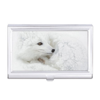 Arctic Fox curled up in winter Business Card Holder