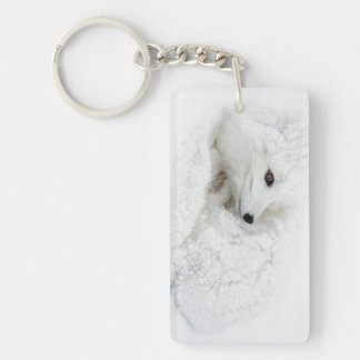 Arctic Fox curled up in winter Double-Sided Rectangular Acrylic Key Ring