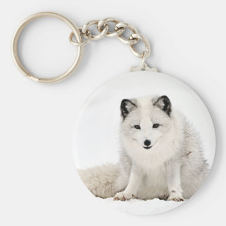 Arctic Fox in the Snow Basic Round Button Key Ring