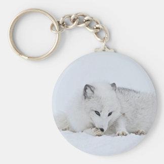 Arctic Fox in the Snow Key Ring