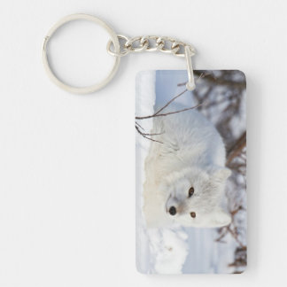 Arctic Fox in winter Double-Sided Rectangular Acrylic Key Ring