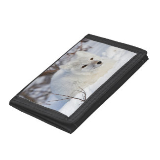 Arctic Fox in winter Tri-fold Wallet