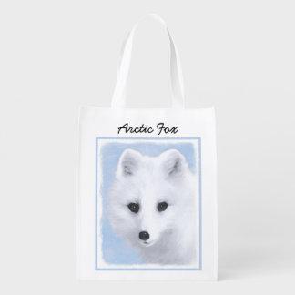 Arctic Fox Painting - Original Wildlife Art Reusable Grocery Bag