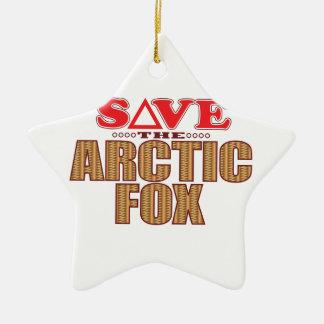 Arctic Fox Save Ceramic Star Decoration