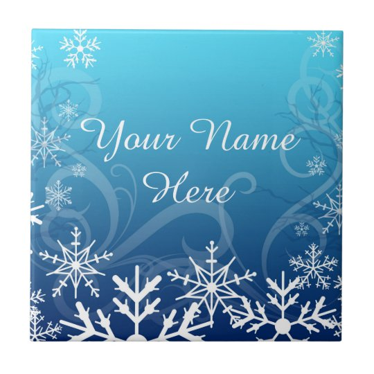 Arctic Frozen Snowdrift Personalised Small Square Tile