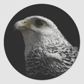 Arctic Gyrfalcon Portrait Painting Classic Round Sticker