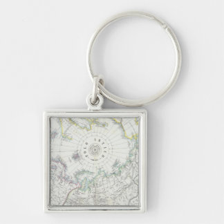 Arctic, Northern Hemisphere Silver-Colored Square Key Ring