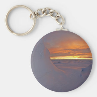 Arctic ocean sunset winter time scene basic round button key ring