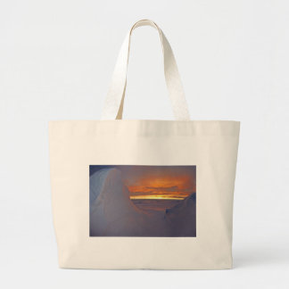 Arctic ocean sunset winter time scene large tote bag