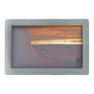 Arctic ocean sunset winter time scene rectangular belt buckles