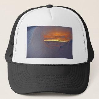 Arctic ocean sunset winter time scene trucker hat