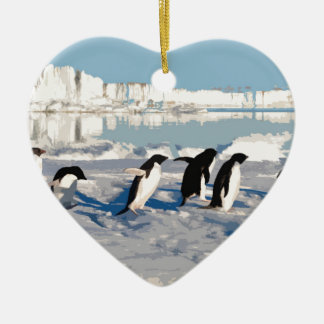 Arctic Penguins Running into the Sea Christmas Ornament
