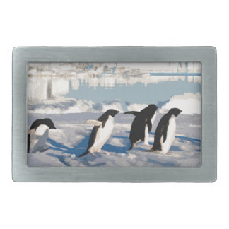 Arctic Penguins Running into the Sea Rectangular Belt Buckles
