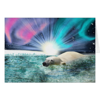 Arctic Polar Bear & Aurora Art Gifts Greeting Card