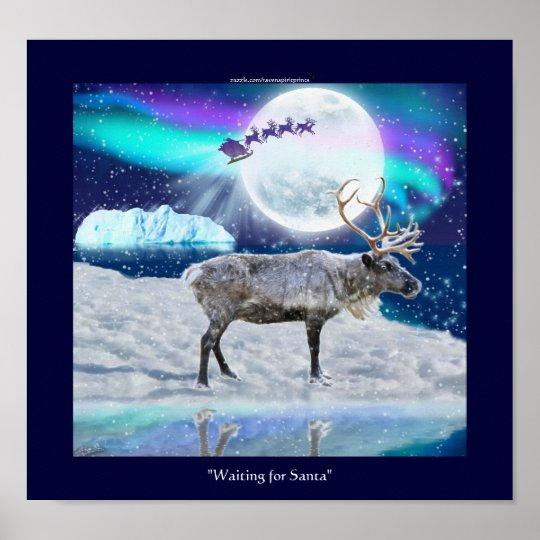 Arctic Reindeer & Santa Claus Christmas Fantasy Poster