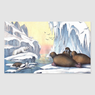 Arctic Scene Polar Bear Walruses Seals Rectangular Sticker