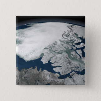 Arctic sea ice above North America 15 Cm Square Badge