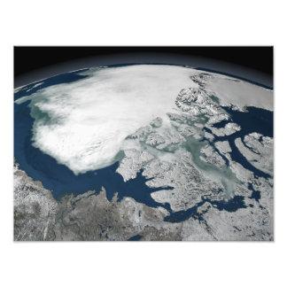 Arctic sea ice above North America Photo Print