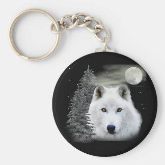 arctic snow wolf basic round button key ring