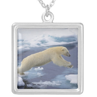 Arctic, Svalbard, Polar Bear extending and Silver Plated Necklace