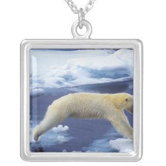 Arctic, Svalbard, Polar Bear hovering with all Square Pendant Necklace