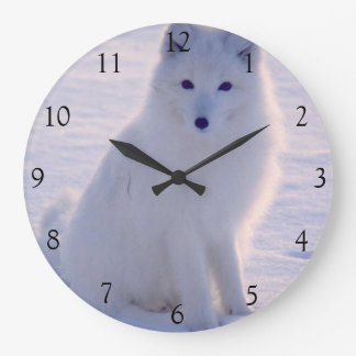 Arctic White Fox Winter Alaska Photo Designed Large Clock