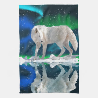 Arctic Wolf, Aurora & Falling Snow Wildlife Art Tea Towel