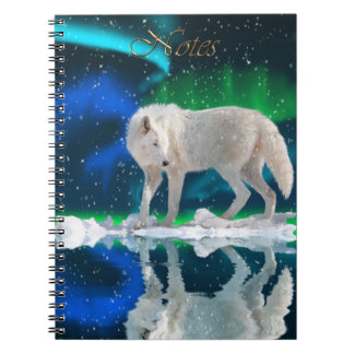 Arctic Wolf & Aurora Wildlife-supporter Notebook