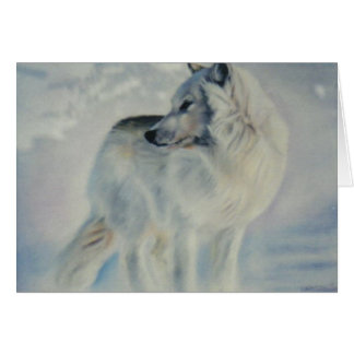 """Arctic Wolf In Winter"" Christmas Card"