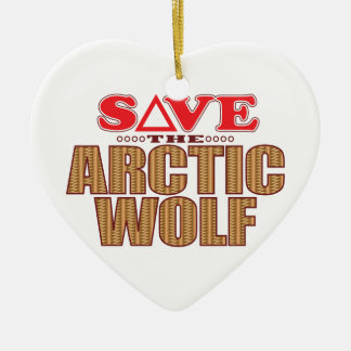 Arctic Wolf Save Ceramic Heart Decoration