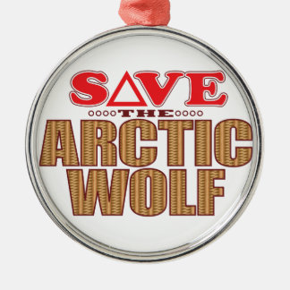 Arctic Wolf Save Christmas Ornament