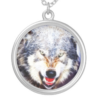 Arctic Wolf Silver Plated Necklace