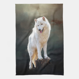 Arctic wolf tea towel