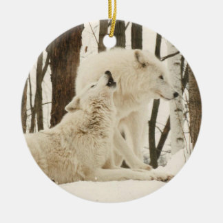 Arctic Wolves in Winter Christmas Ornament