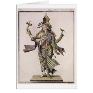 Ardhanarishvara, from 'Voyage aux Indes et a la Ch Card