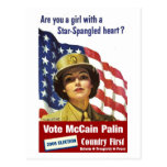 Are you a girl with a Star-Spangled Heart - Postca Post Card