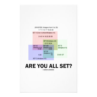 Are You All Set? (Math Set Theory Attitude) Stationery