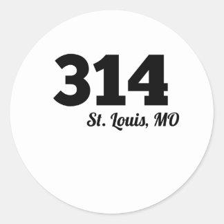 Area Code 314 St. Louis MO Round Sticker