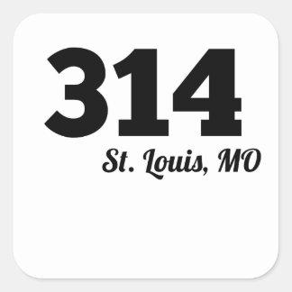 Area Code 314 St. Louis MO Square Sticker