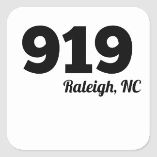 Area Code 919 Raleigh NC Square Sticker