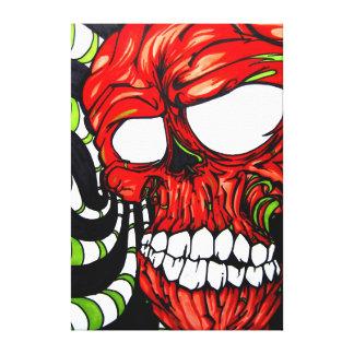 "Arek Art - Original Print - ""Neon Skull"" Gallery Wrapped Canvas"