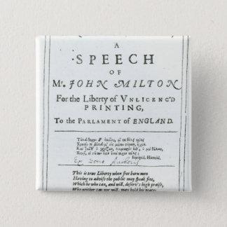 Areopagitica'  a speech of John Milton 15 Cm Square Badge