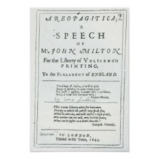 Areopagitica'  a speech of John Milton Poster