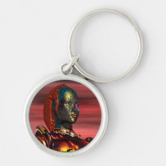 ARES - CYBORG PORTRAIT IN SUNSET / Science Fiction Silver-Colored Round Key Ring