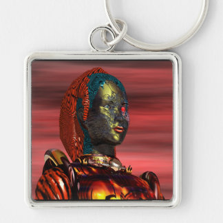 ARES - CYBORG PORTRAIT IN SUNSET / Science Fiction Silver-Colored Square Key Ring